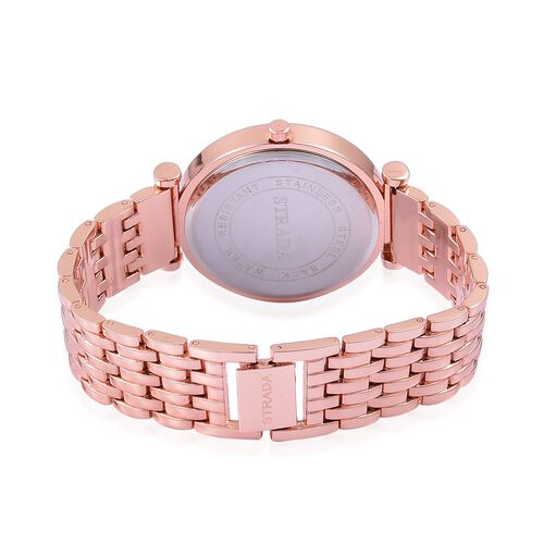 STRADA Japanese Movement Abalone Shell Dial with White Austrian Crystal Watch in Rose Gold Tone with Stainless Steel Back