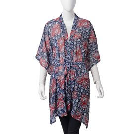 Navy, Red and Multi Colour Flower Pattern Kimono (Size 110x85 Cm)