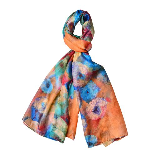 100% Mulberry Silk Orange, Blue and Multi Colour Floral Printed Scarf (Size 180X110 Cm)