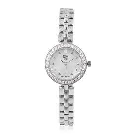 Designer Inspired - EON 1962 Swiss Movement Rhodium Plated Sterling Silver Crystal Studded Watch with MOP Dial, Sapphire Glass and 3ATM Water Resistant, Silver wt. 20.00  Gms.