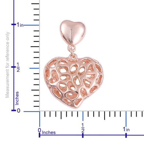 RACHEL GALLEY Rose Gold Overlay Sterling Silver Amore Heart Earrings (with Push Back), Silver wt 6.48 Gms.