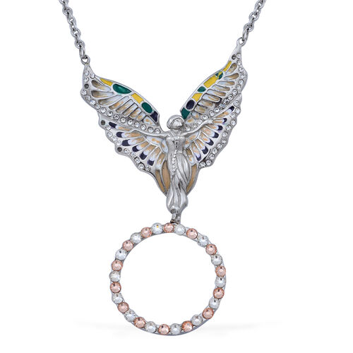 White and Champagne Colour Austrian Crystal Magnifying Glass Angel Necklace (Size 20) in Stainless Steel