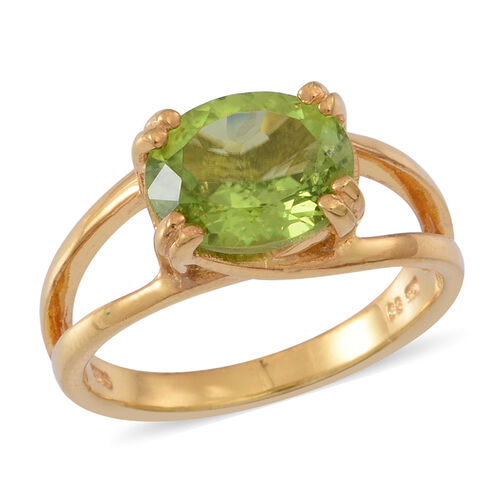 AA Hebei Peridot (Ovl) Solitaire Ring in Yellow Gold Overlay Sterling Silver 4.000 Ct.
