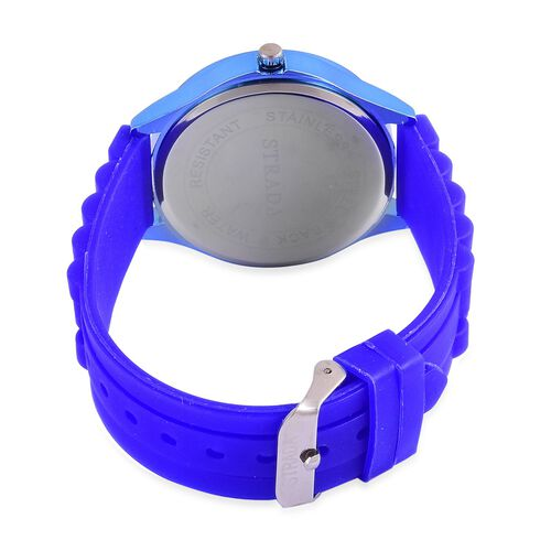 STRADA Japanese Movement Blue Colour Dial Water Resistant Watch in Silver Tone with Stainless Steel Back and Blue Colour Silicone Strap