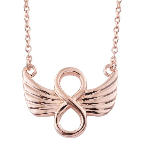 Angel Wings Eternal Love Infinity Necklace in Rose Gold Overlay Sterling Silver (Size 18), Silver wt 5.00 Gms.