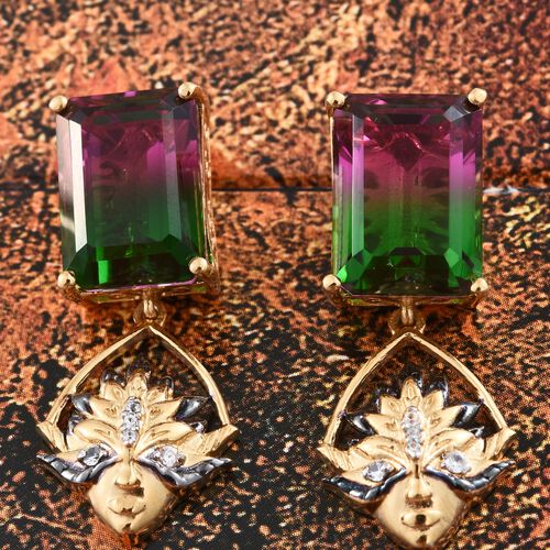 GP Water Melon Quartz (Oct), Natural Cambodian Zircon and Kanchanaburi Blue Sapphire Earrings (with Push Back) in 14K Gold Overlay Sterling Silver 17.750 Ct. Silver wt 6.00 Gms.