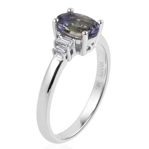ILIANA 1.53 Ct AAA Peacock Tanzanite and Diamond (SI/G-H) Ring in 18K White Gold