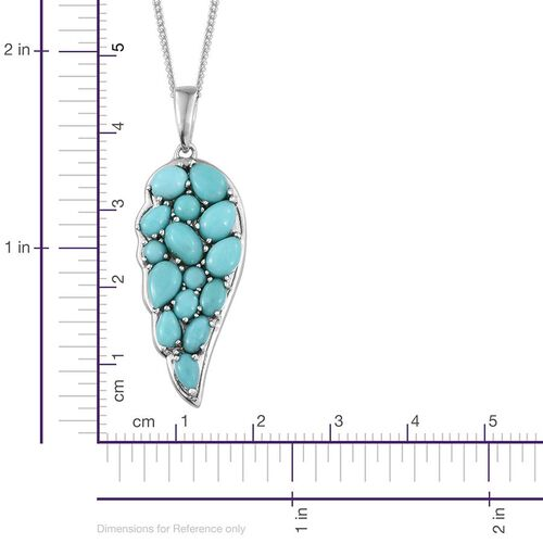 Sonoran Turquoise (Ovl 0.50 Ct) Angel Wing Pendant With Chain in Platinum Overlay Sterling Silver 4.000 Ct.