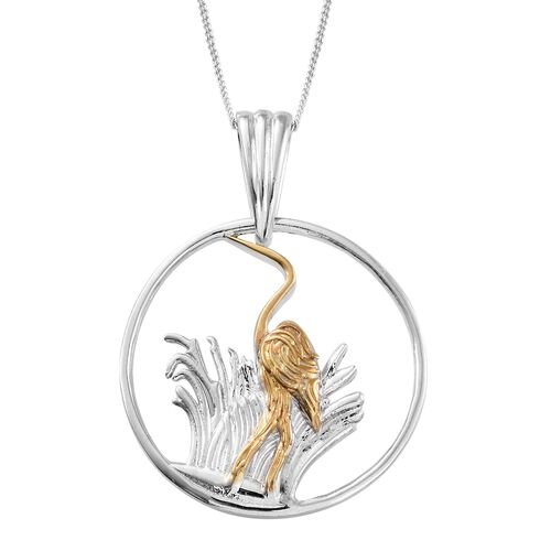 Platinum and Yellow Gold Overlay Sterling Silver Heron Pendant With Chain, Silver wt 6.62 Gms.