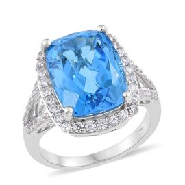 Marambaia Topaz (Cush 12.50 Ct), Natural Cambodian Zircon Ring in Platinum Overlay Sterling Silver 13.500 Ct.