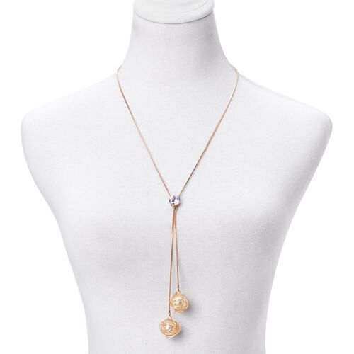 Simulated White Diamond and Simulated White Stone Necklace (Size 22 with 2 inch Extender) in Gold Tone