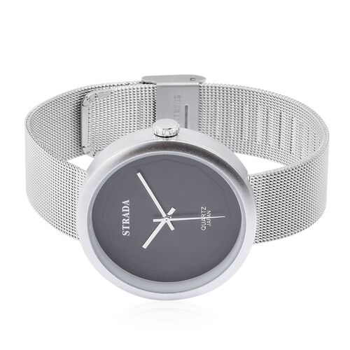 Designer Inspired - STRADA Japanese Movement Black Dial Water Resistant Watch in Silver Tone with Stainless Steel Back and Silver Colour Mesh Strap
