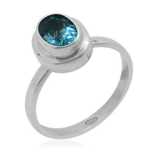 Royal Bali Collection Blue Topaz (Ovl) Solitaire Ring in Sterling Silver 1.470 Ct.