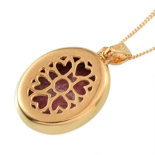 Norwegian Thulite (Ovl) Pendant With Chain in 14K Gold Overlay Sterling Silver 10.500 Ct.