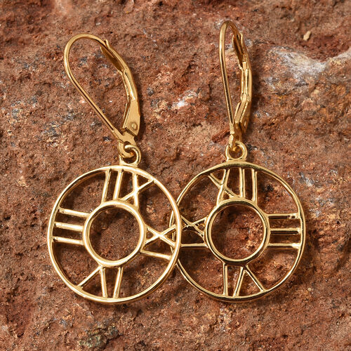 14K Gold Overlay Sterling Silver Roman Number Inspired Lever Back Earrings, Silver wt. 2.89 Gms.