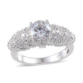 J Francis - Platinum Overlay Sterling Silver (Rnd) Ring Made with SWAROVSKI ZIRCONIA 1.716 Ct.