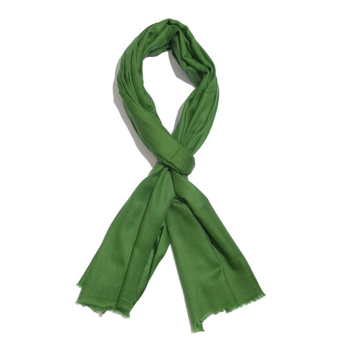 Limited Available - Super Soft- 100% Cashmere Wool Meadow Green Colour Shawl with Fringes (Size 200X70 Cm)