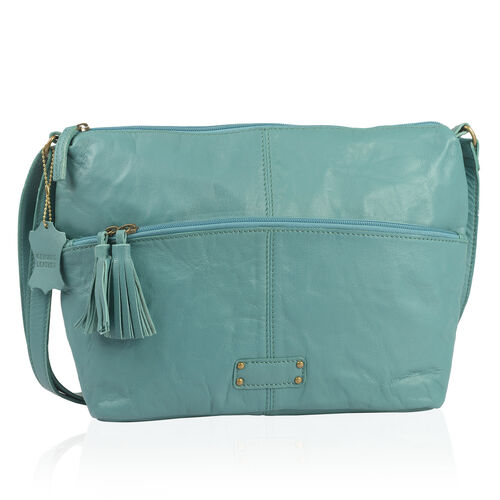 Genuine Leather RFID Blocker Teal Colour Sling Bag with External Zipper Pocket (Size 39X24X10 Cm)