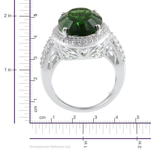 Helenite (Ovl 10.00 Ct), White Topaz Ring in Platinum Overlay Sterling Silver 11.000 Ct.