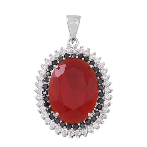Exclusive Edition- ELANZA AAA Simulated Ruby (Ovl), Simulated Diamond and Boi Ploi Black Spinel Pendant in Rhodium Plated Sterling Silver