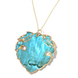 Designer Inspired-Blue Shell Leaf Pendant with Chain in 14K Gold Overlay Sterling Silver