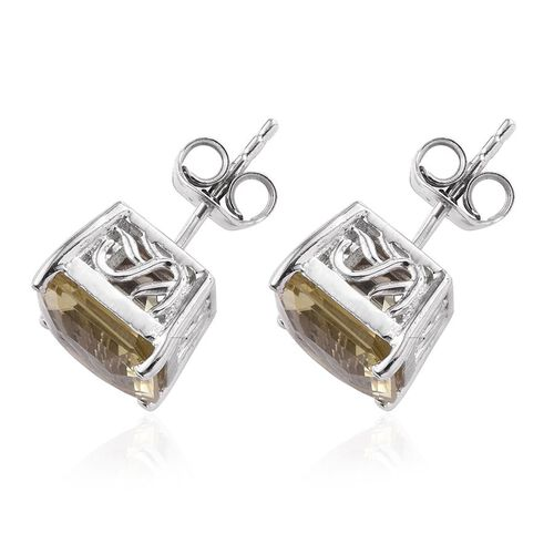 Ascher Cut Brazilian Green Gold Quartz (Oct) Stud Earrings (with Push Back) in Platinum Overlay Sterling Silver 6.750 Ct.