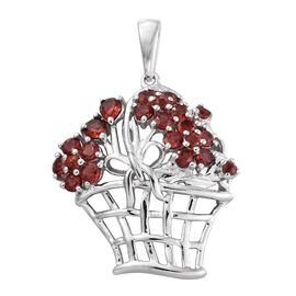 Mozambique Garnet (Rnd) Flower Bouquet Design Pendant in Platinum Overlay Sterling Silver 2.000 Ct.