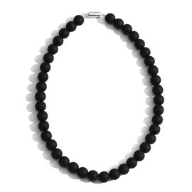 Rare Size Natural Black Onyx (Rnd) Hand Knotted Necklace (Size 18) with Magnetic Clasp in Rhodium Plated Sterling Silver 475.000 Ct.