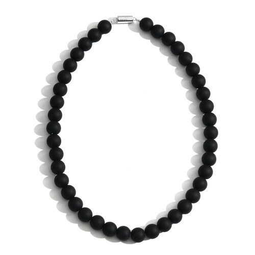 Limited Edition- 100% Natural Black Onyx (Rnd) HandKnotted Necklace (Size 18) with Magnetic Clasp in Rhodium Plated Sterling Silver 475.000 Ct.