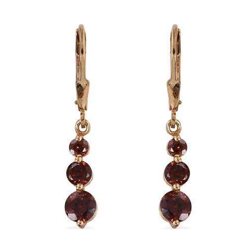 AA Mocha Zircon (Rnd) Lever Back Earrings in 14K Gold Overlay Sterling Silver 3.000 Ct.