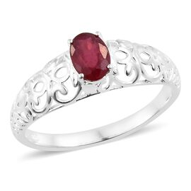 African Ruby (Ovl) Solitaire Ring in Sterling Silver 1.000 Ct.