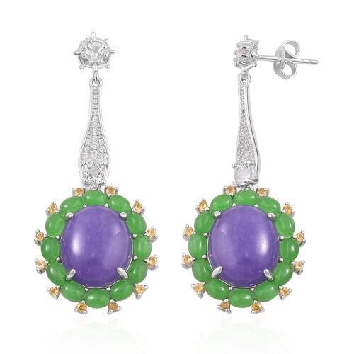 Purple Jade (Ovl), Green Jade, Citrine and White Topaz Earrings (with Push Back) in Rhodium Plated Sterling Silver 23.830 Ct. Silver wt. 8.23 Gms.