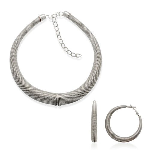 Necklace (Size 18) and Hoop Earrings in Silver Tone