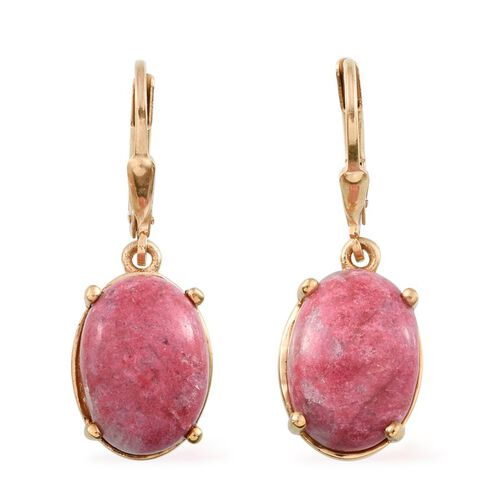 Norwegian Thulite (Ovl) Earrings in 14K Gold Overlay Sterling Silver 14.000 Ct.