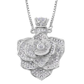 ELANZA AAA Simulated White Diamond (Rnd) Adjustable Flower Necklace (Size 16 to 30) in Rhodium Plated Sterling Silver, Silver wt 17.17 Gms. Number of Simulated Diamonds 150