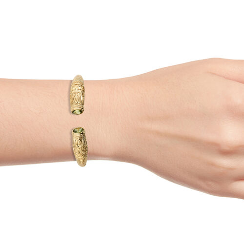 Designer Inspired- Hebei Peridot (Ovl) Cuff Bangle (Size 7.50) in 14K Gold Plating 2.500 Ct.