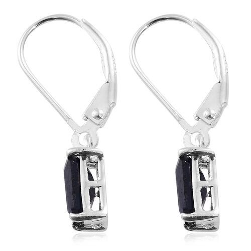 Kanchanaburi Blue Sapphire (Oct) Lever Back Earrings in Sterling Silver 2.750 Ct.