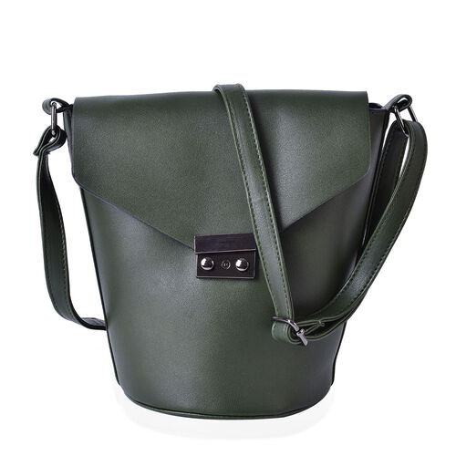 Green Colour Crossbody Bag with Adjustable Shoulder Strap (Size 24.5x24x16x16 cm)