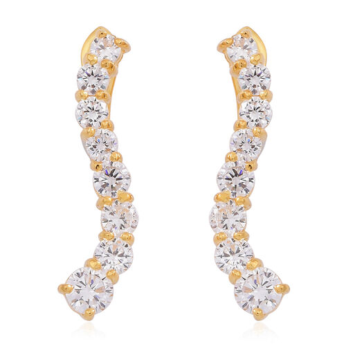 ELANZA AAA Simulated Diamond (Rnd) Earrings (with Clasp) in 14K Gold Overlay Sterling Silver. Silver wt. 5.40 Gms.