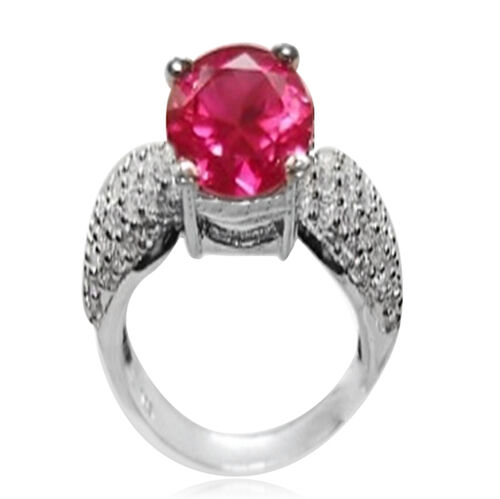 ELANZA AAA Simulated Ruby (Rnd), Simulated Diamond Ring in Rhodium Plated Sterling Silver