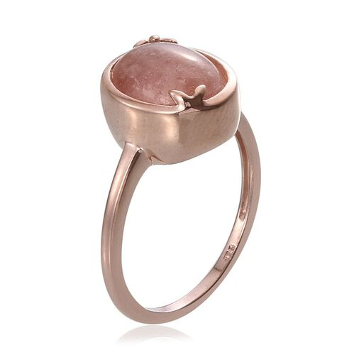 Marropino Morganite (Ovl) Solitaire Ring in Rose Gold Overlay Sterling Silver 4.500 Ct.