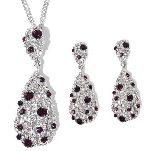 Designer Inspired AAA Purple and White Austrian Crystal Drop Pendant with Chain (Size 20 with 3 inch Extender) and Earrings (with Push Back) in Silver Tone