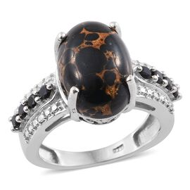 Mojave Black Turquoise (Ovl 6.00 Ct), Boi Ploi Black Spinel Ring in Platinum Overlay Sterling Silver 6.250 Ct.