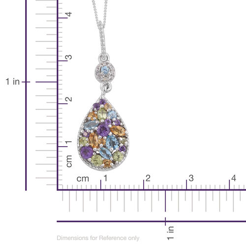 GP Amethyst (Rnd), Citrine, Hebei Peridot, White Topaz and Multi Gem Stone Pendant with Chain in Platinum Overlay Sterling Silver