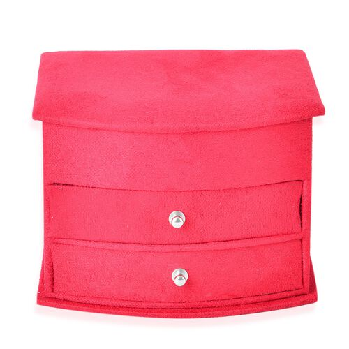 Red Colour 3 Layer Velvet Jewellery Box with Mirror Inside and 2 Removable Drawers (Size 14.5x12x10.5 Cm)
