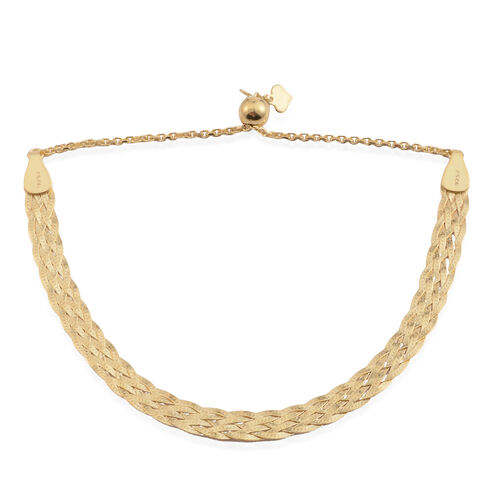 JCK Vegas Collection-14K Gold Overlay Sterling Silver Adjustable Braided Herringbone Bracelet (Size 6.5 to 8), Silver wt. 4.20 Gms.