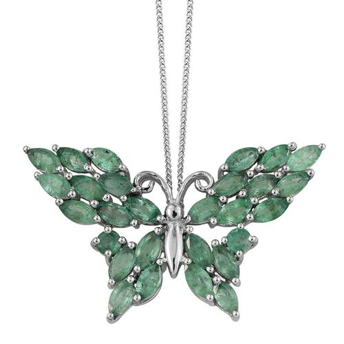 Kagem Zambian Emerald (Mrq) Butterfly Pendant With Chain in Platinum Overlay Sterling Silver 3.750 Ct.