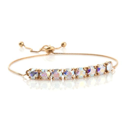 J Francis Crystal from Swarovski - Aurore Boreale Crystal (Rnd) Adjustable Bracelet (Size 6.5 to 9) in 14K Gold Overlay Sterling Silver