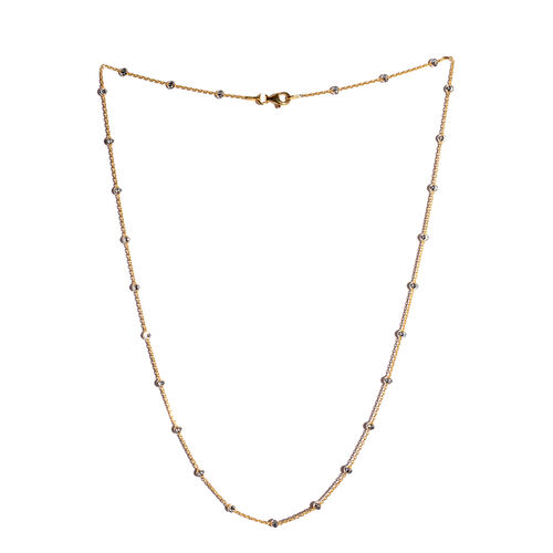 Vicenza Collection Platinum and Yellow Gold Overlay Sterling Silver Half Moon Necklace (Size 20), Silver wt 4.70 Gms.