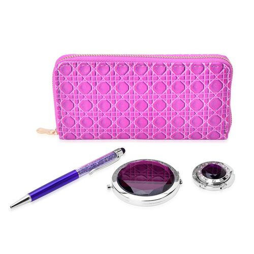 Set of 4 - Purple Colour Ladies Clutch, Simulated Purple Diamond Filled Ball Pen (Black ink), White Austrian Crystal Studded Bag Hook and Compact Mirror